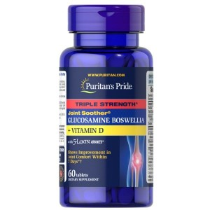 Puritan's Pride Triple Strength Joint Soother®Glucosamine Boswellia + Vitamin D , 60 tabs