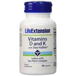 Life Extension Vitamins D and K with Sea-Iodine, 60 Capsules