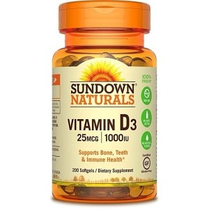 Sundown Naturals Vitamin D3 1000 IU, 200 Softgels