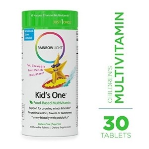 Rainbow Light - Kids One Food-Based Multivitamin - Chewable Probiotic, Vitamin, and Mineral Supplement; Soy and Gluten-Free- 30 Tablets