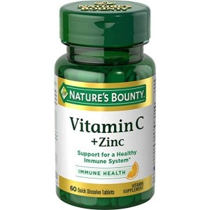 Nature's Bounty Vitamin C with Zinc Supplement, Supports Immune Health, 60mg, 60 Tablets