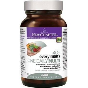 New Chapter Every Mans One Daily 40+, Mens Multivitamin Fermented with Probiotics + Saw Palmetto + B Vitamins + Vitamin D3 + Organic Non-GMO Ingredients - 72 ct