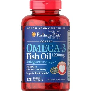 Puritan's Pride Omega-3 Fish Oil Coated 1200 mg (360 mg Active Omega-3)-120 Coated Softgels
