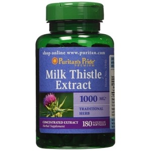 Puritan's Pride Milk Thistle 4:1 Extract 1000 mg (Silymarin)-180 Softgels