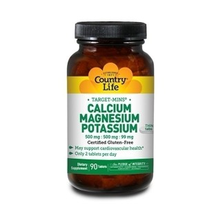 Country Life Target Mins Calcium Magnesium Potassium 500 Mg/500 Mg/99 Mg (per 2 Tablets), 90-Count