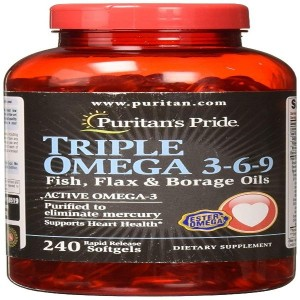 Puritans Pride Triple Omega 3-6-9 Fish, Flax & Borage Oils, 240 Count