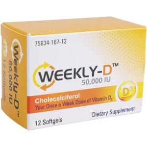 Weekly-D Vitamin D3 50,000 IU   for Energy, 12Softgels
