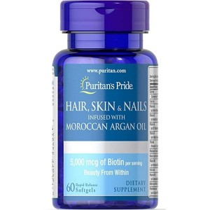Puritan's Pride Hair, Skin & Nails Infused with Moroccan Argan Oil-60 Softgels