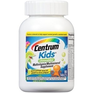 Centrum Kids Chewables (80 Count, Cherry, Orange, & Fruit Punch Flavor) Multivitamin / Multimineral Supplement Tablet, Vitamin A, Vitamin C, Vitamin E