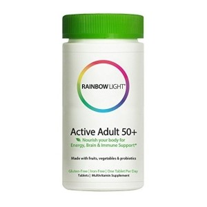 Rainbow Light - Active Adult 50+ Multivitamin with CoQ10 - Food-Based Supplement Provides Antioxidant Protection and Probiotics, Supports Energy, Nutrition, and Stress Management - 30 Tablets