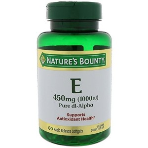 Nature's Bounty Vitamin E 1000 IU Softgels Pure DL-Alpha 60 Soft Gels