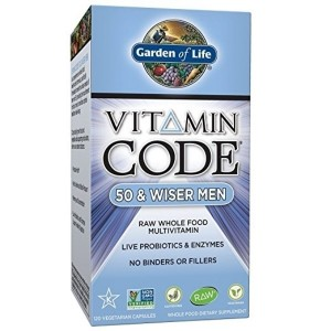 Garden of Life Multivitamin for Men - Vitamin Code 50 & Wiser Mens Raw Whole Food Vitamin Supplement with Probiotics, Vegetarian, 120 Capsules